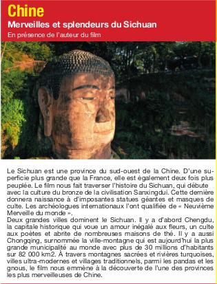 Connaissance du Monde « Chine, merveilles et splendeurs du Sichuan »